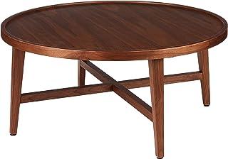 Marque Amazon -Rivet - Table ronde à 4 pieds en noyer, 80x80x36cm