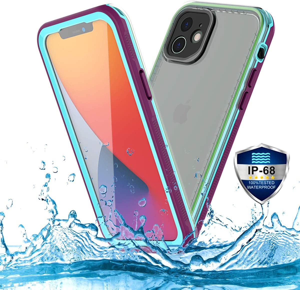 PINGTEKOR Waterproof Case for iPhone 12,IP68 Full Sealed Snowproof Dustproof Shockproof Heavy Duty Protection Cover with Screen Protector and Translucent Back Cover for iPhone 12 6.1 Inch