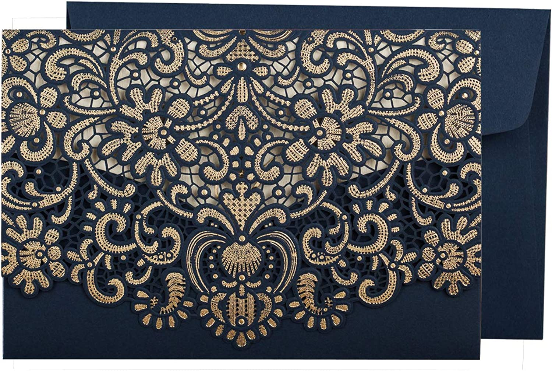 WISHMADE 50 Stück Hochzeit Einladungskarten Lasercut Spitze Hochzeit Einladungen Kit, mit blanko bedruckbar Papier und Umschläge Navy Blau- Hochzeitskarten B07MGGT9KC | Rich-pünktliche Lieferung