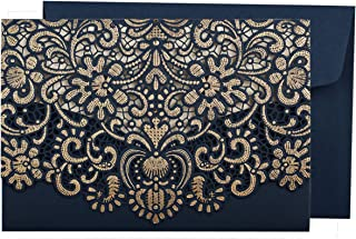 WISHMADE 1PCS Navy Blue Wedding Invitations Card with Horizontal Laser Cut Hollow Flora Sample Invite for Birthday Engagement Bridal Shower Dinner Party with Envelope