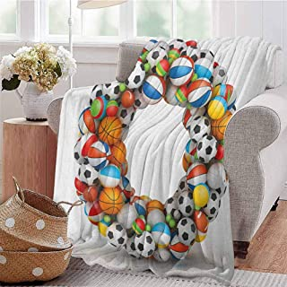 Luoiaax Letter O Commercial Grade Printed Blanket Colorful Athletic Composition with Many Game Balls and Alphabet Letter Typography Queen King W80 x L60 Inch Multicolor