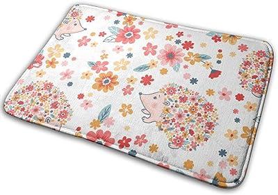 """Flowers and Cute Hedgehogs Indoor Doormat Front Back Door Mat,23.6""""x15.8"""" Mat Non Slip Large Door Rug"""