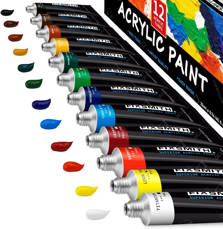 FIXSMITH Acrylic Paint Set Excellence of 12 0.74 22 Tubes ml Colors Superlatite oz