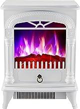 DHYBDZ Calentador de Chimenea eléctrico, Estufa de Chimenea Independiente infrarroja de 2000 W / 1000 W, Brillo de Llama 3D Ajustable Estufa de Calentador de Espacio de Chimenea de Gran tamaño,Blanco
