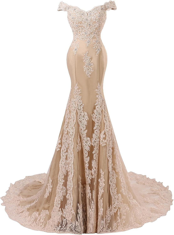 Himoda Women's V Neckline Mermaid Lace Long Prom Gown