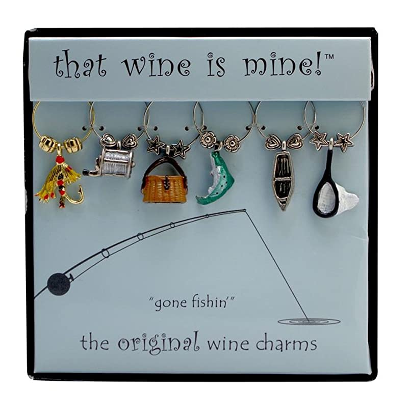 Wine Things WT-1442P Gone Fishin', Painted Wine Charms, Fits neatly around stem, Multi-Color