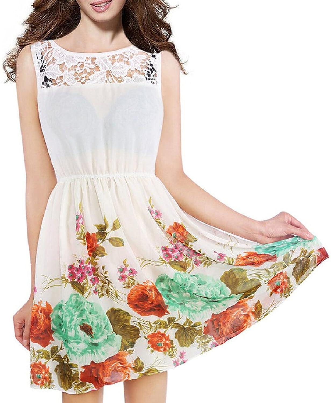 Fashion Summer Waist Lace Loose Casual Dress,WhiteXL