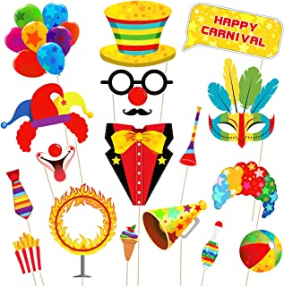 Amosfun 18PCS Carnival Photo Booth Props Carnival Party Favors Wedding Birthday Carnival Bachelorette Acessories