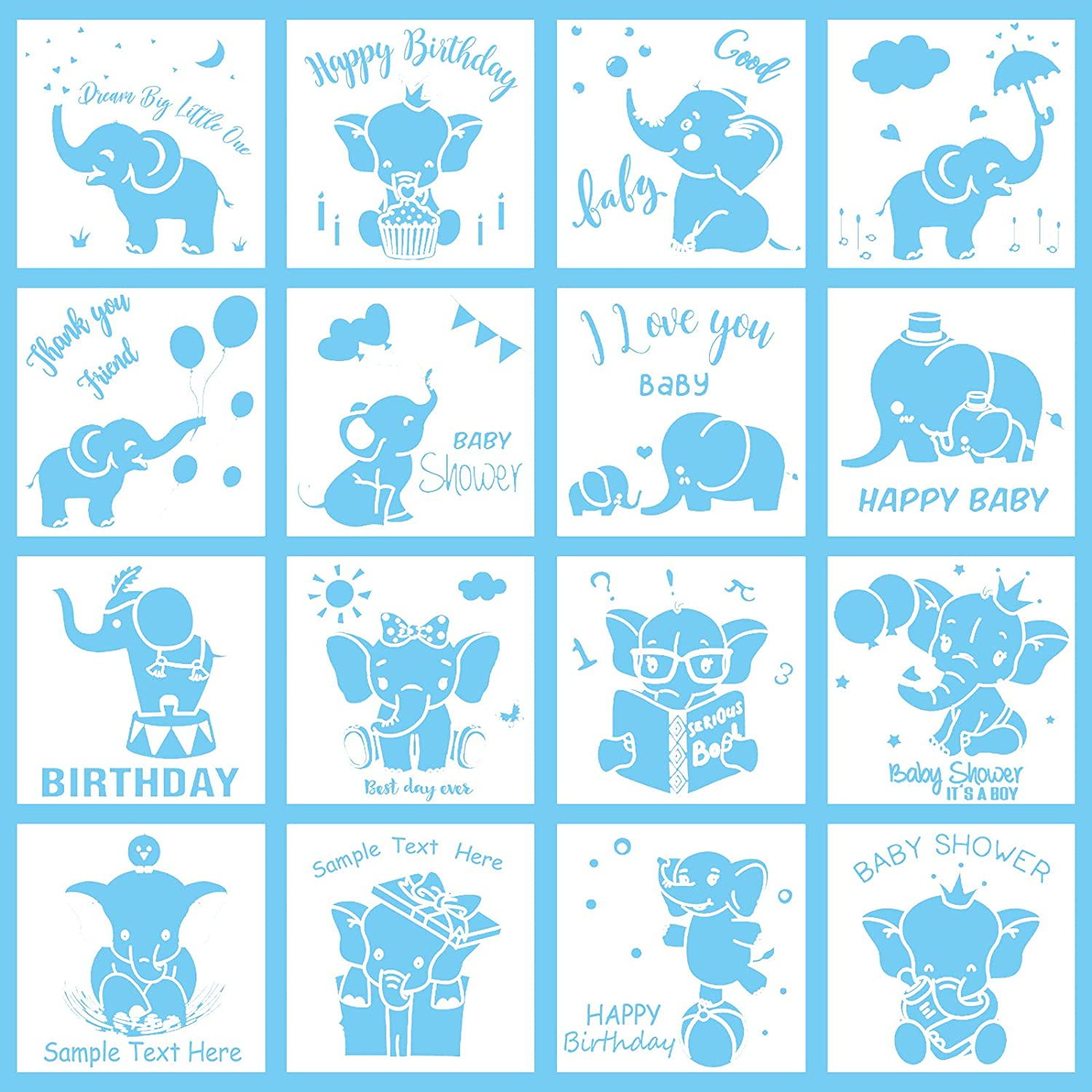 16 Pieces Baby Elephant Stencils Happy Birthday Elephant Painting Stencils Reusable Baby Shower DIY Stencils for Wall Tile Fabric Furniture Templates 16 Styles 6.3 x 6.3 Inch