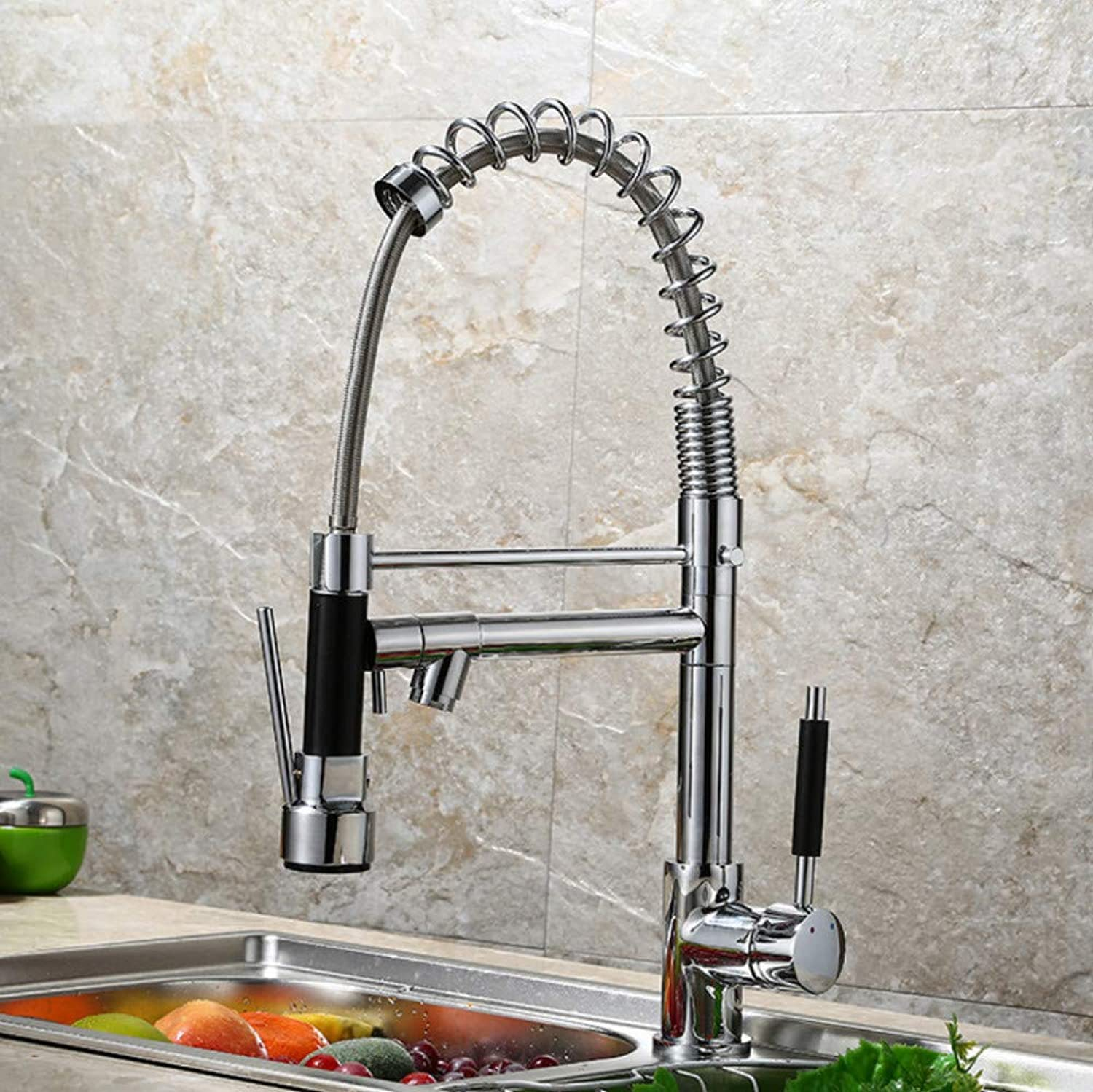 Faucet Copper Brushed Kitchen Faucet Double greenical Sink Spring hot and Cold Kitchen Mixing Faucet