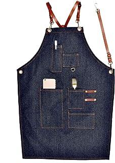 1c55d933a50 PQZATX Delantales Uniforme Simple de Cuero de Mezclilla Delantales Vaqueros  de Adulto Unisex para Mujer Hombre