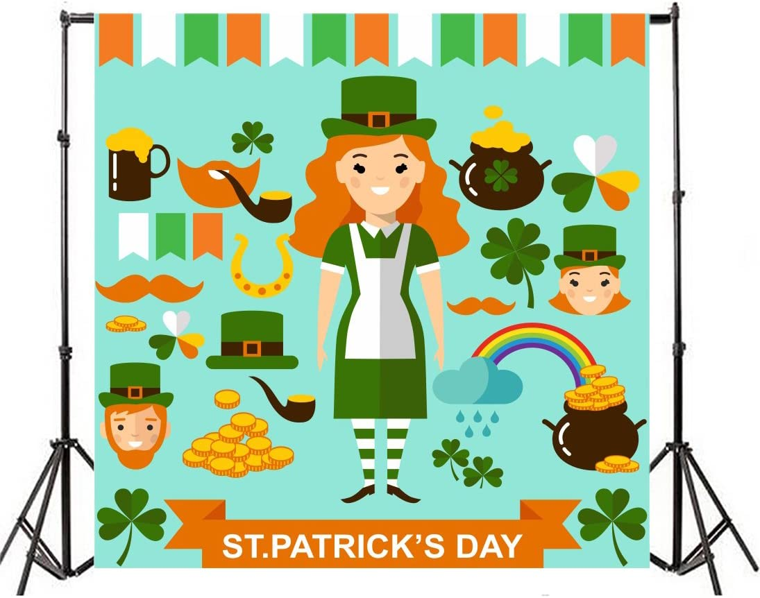 Leyiyi 4x4ft Photography Background Weekly update Happy Boston Mall St. Back Patrick's Day