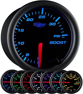 """GlowShift Black 7 Color 35 PSI Turbo Boost Gauge Kit - Includes Mechanical Hose & Fittings - Black Dial - Clear Lens - for Car & Truck - 2-1/16"""" 52mm"""