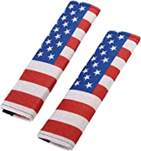 TK-KLZ Pack-2 American US Flag Seat Belt Cover Shoulder Pad Cushion - Car Truck Owners Comfortable Driving for Jeep Toyota Honda BMW Ford Chevrolet Nissan Subaru Hyundai VW Mustang Corvette Volvo Audi