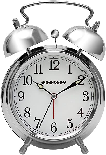 Crosley 33013 Classic Twin Bell Vintage Metal Alarm Clock Non Ticking By Timelink