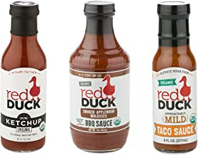 Red Duck Traditional 3-Sauce Sampler Set - Organic Original Ketchup, Smoked Applewood Molasses BBQ Sauce, and Approachably Mild Taco Sauce (