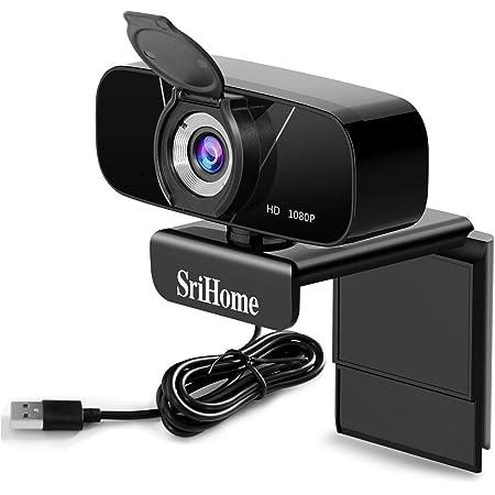 SriHome Webcam PC Full HD 1080P con microfono stereo, Webcam portatile per PC, Webcam USB 2.0, streaming telecamera riduzione del rumore per videochiamate, registrazione, conferenze con clip girevole