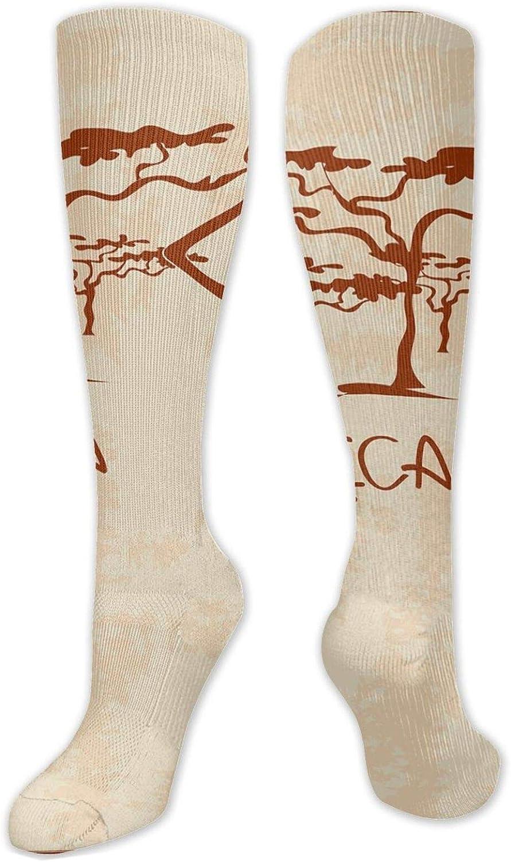Compression High Socks-Vintage Africa Themed Illustration Slim Indigenous Girl Figure Colorful Dress,Socks Women and Men - Best for Running, Athletic,Hiking,Travel,Flight