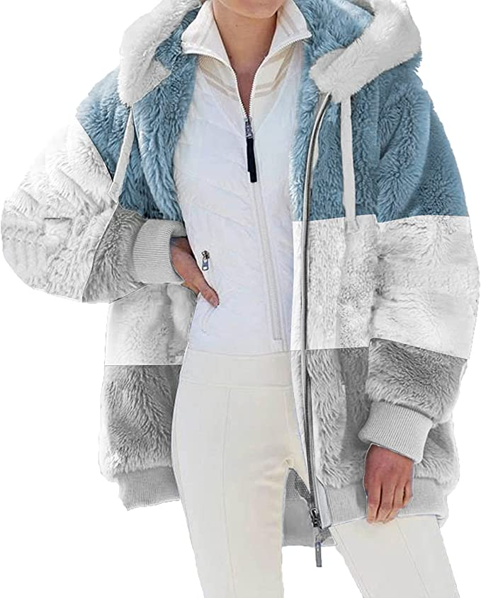 Hesxuno Womens Fleece Jackets Casual Fall Winter Warm Thick Shaggy Fuzzy Zip Up Hoodies Solid Coats Outwear with Pockets