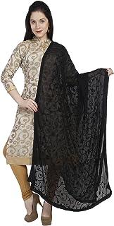 Dupatta Bazaar Woman`s Embroidered Black Chiffon Chunni,Dupatta, Stole with Lace Border