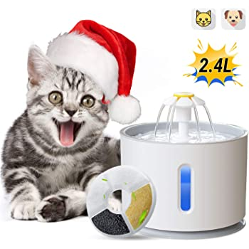 ADOV Cat Water Fountain, 2.4L Automatic Electric Pet Drinking Water Dispenser with LED Light, Portable Hygienic Replaceable Filter Flower Style Water Bowl for Cats, Dogs and Small Animals – Grey