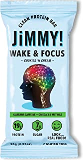 JiMMYBAR! Boosted Clean Protein Bars, Wake & Focus, Cookies 'N Cream, Caffeinated Energy Bar with MCT Oil and Omega 3, Increased Focus and Cognitive Function, 2.13 Ounces, 12 Count