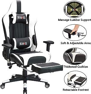 Silla ergonómica para juegos con reposacabezas y soporte lumbar para masaje, altura ajustable en altura, con reposapiés retráctil. Silla reclinable de cuero para oficina ejecutiva