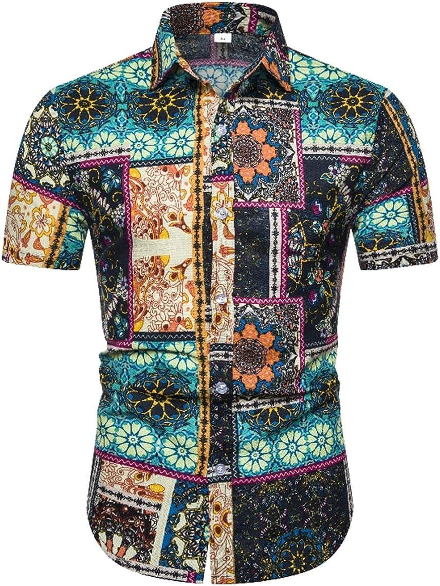 Men's Beach Shirts Fashion Casual Classic Beach Hawaiian Winds Prints Short Sleeve Shirts