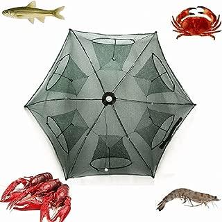 2-Pack Portable Folded Fishing Net Fish Shrimp Minnow Crayfish Crab Baits Cast Mesh Trap automatic , Easy Use Hexagon 6 Hole Cage Crab Fish Minnow Crawdad Shrimp (6 sides 6 Holes)