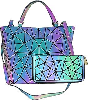 Geometrische leuchtende Geldbörsen und Handtaschen für Frauen, holografisch, reflektierend, Umhängetasche, Regenbogen-Trag...