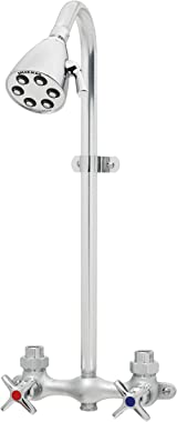 Speakman SC-1220-AF Commander Vandal-Resistant Industrial Exposed Shower with Cross Handles and S-2252 Brass Shower Head, Pol