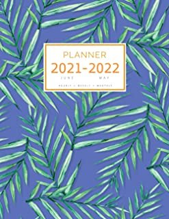 Planner 2021-2022: 8.5 x 11 Large Notebook Organizer with Hourly Time Slots   June 2021 to May 2022   Summer Tropical Leaf...