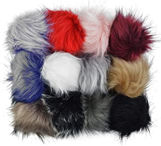 HOVEOX 12 PCS DIY Faux Fur Fluffy Pompom Ball for Knitting Hats Shoes Scarves Bag Lobster Clasp Key Ring Charms Accessories Mixed Colors