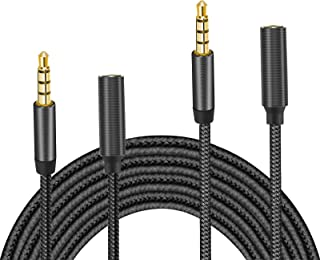 TERSELY 3.5mm Gold-Plated Audio MIC 4-Pole Extension Cable Aux Cord, [2 Pack] 1M/2M (3FT/6FT) Nylon Braided Male to Female...