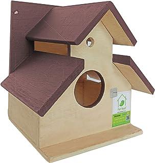 PetNest sheddy Bird House Nest Box for Sparrow and Garden Birds Wood Bird Nest Garden Outdoor Decor for Attracting Birds B...