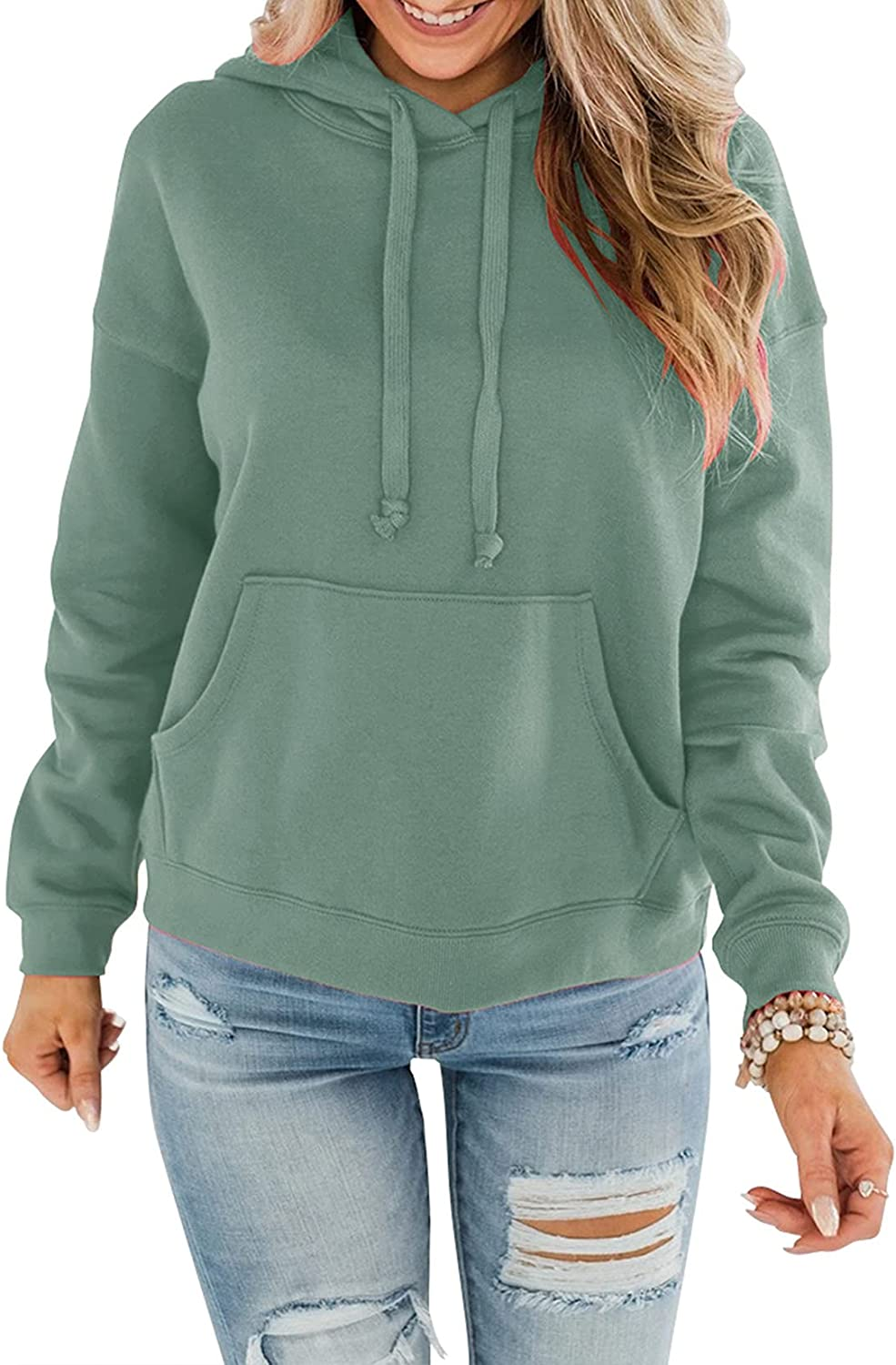 Orchidays Womens Lightweight Hoodies Long Sleeve Casual Pullover Solid Loose Sweatshirt with Pocket