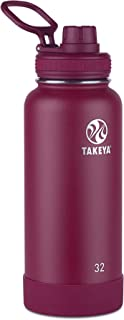 Takeya 51162 Actives Insulated Stainless Steel Water Bottle with Spout Lid, 32 oz, Wine