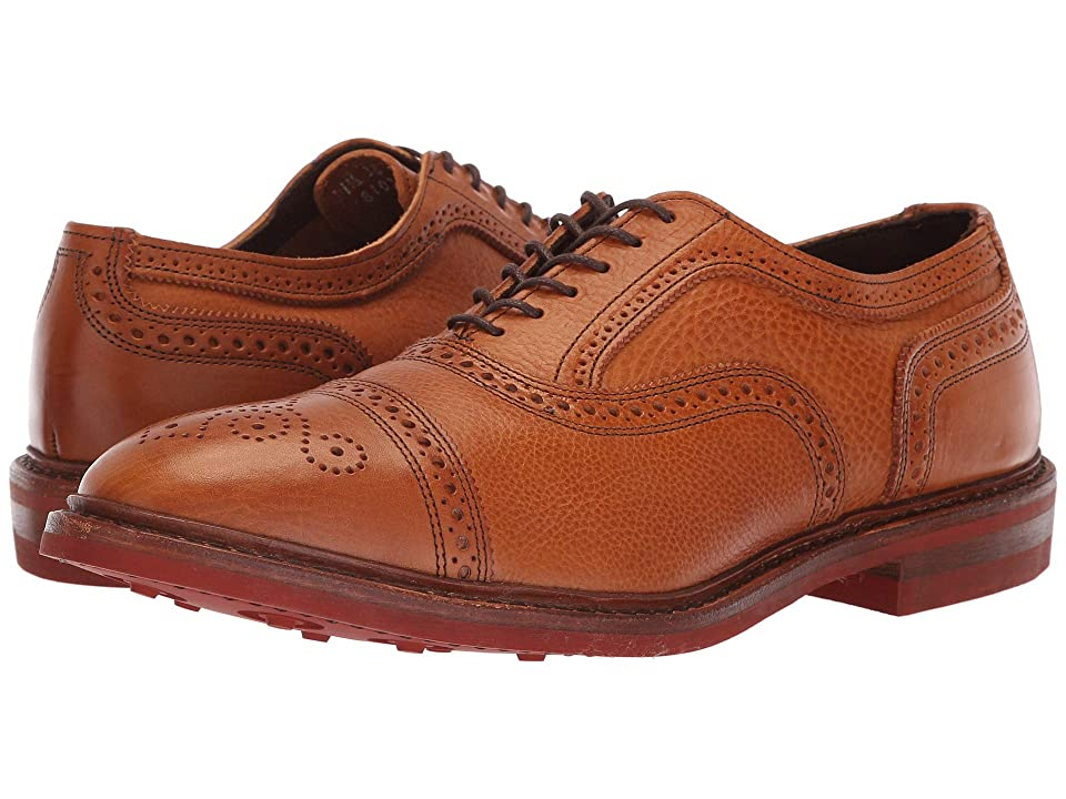 1920s Style Mens Shoes | Peaky Blinders Boots Allen Edmonds Strandmok Cognac Tumbled Mens Lace Up Cap Toe Shoes $344.95 AT vintagedancer.com