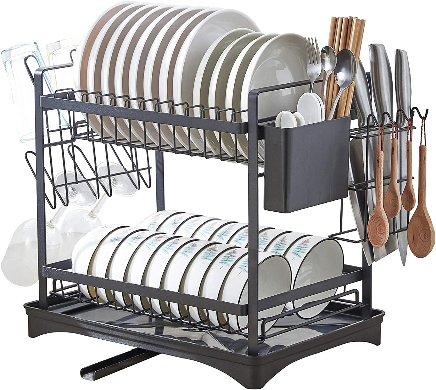 Dish Drying Rack for Kitchen 2 Counter Drainers San Antonio Mall Tier Indefinitely