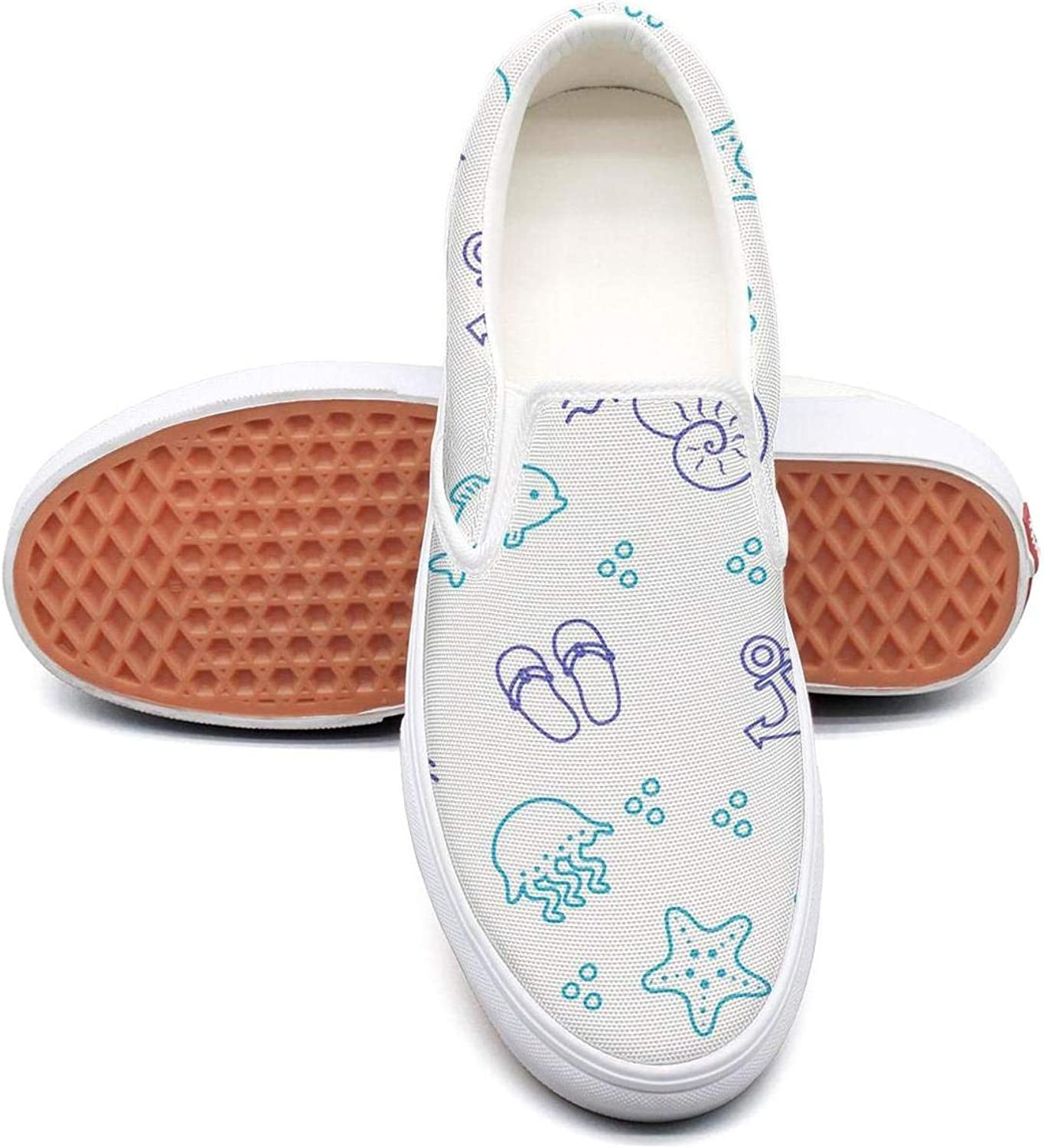 Refyds-es Cool Seashells and Starfish Womens Fashion Slip on Low Top Lightweight Canvas Basketball Sneakers