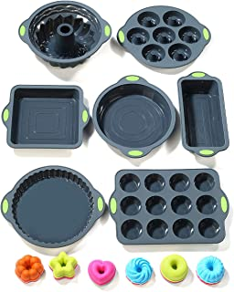 To encounter 31 Pieces Silicone Bakeware Set - 7 Silicone Baking Pans - 24 Silicone Muffin Donut Molds Non Stick Silicone Baking Molds with Metal Reinforced Frame More Strength