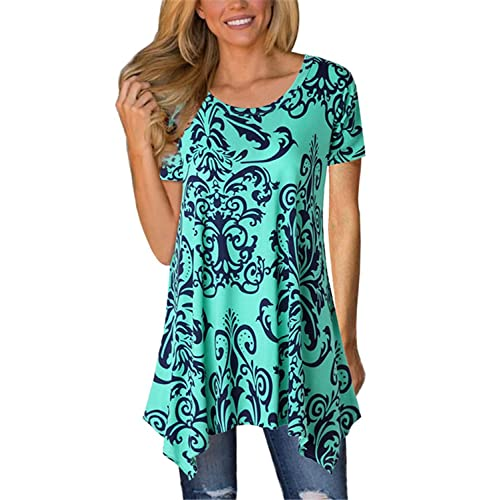 3d424c8edca62d FIYOTE Womens Short Sleeve Floral Print Irregular Hem Asymmetrical Loose  Tunic Long Blouse Tops