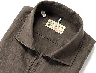 ルイジボレッリ ルイジボレリ LUIGI BORRELLI / 20SS!製品洗いリネンポプリン無地カプリシャツ「BACIATO(9131)」 (ダークブラウン) メンズ
