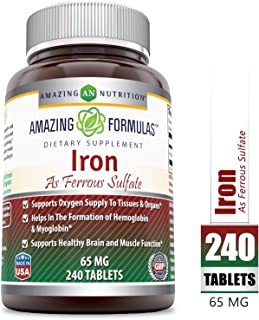 Amazing Formulas Ferrous Sulfate 65 Mg 240 Tablets -Iron As Ferrous Sulfate for Better Absorption- Supports Oxygen Supply to Tissues and Organs-Supports Healthy Brain and Muscle Function