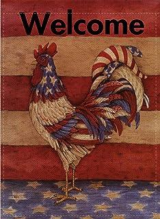 Selmad Welcome July 4 Patriotic Garden Flag Farm Rooster مزدوج الجوانب، الخريف ريفي الخيش ديكور المنزل فناء المنزل، منزل م...