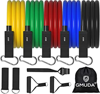 GMUDA Resistance Bands, Resistance Bands Set (11pcs) with Handle to Build Muscle & Burn Fat at Home Gym, Stackable up to 1...