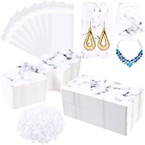 500 Pieces Marble Earring Necklace Display Card Holder Set Include 100 Pieces 3.5 x 2 Inch 100 Pieces 4.7 x 2 Inch Jewelry Display Cards 200 Pieces Earring Backs 100 Self-Seal Bags for Packing (White)