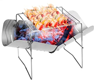 Lixada 2-in-1 Folding Stainless Steel Barbecue Grill Camp Firepit Portable Outdoor BBQ Camping Backpakcing Wood Burning Stove