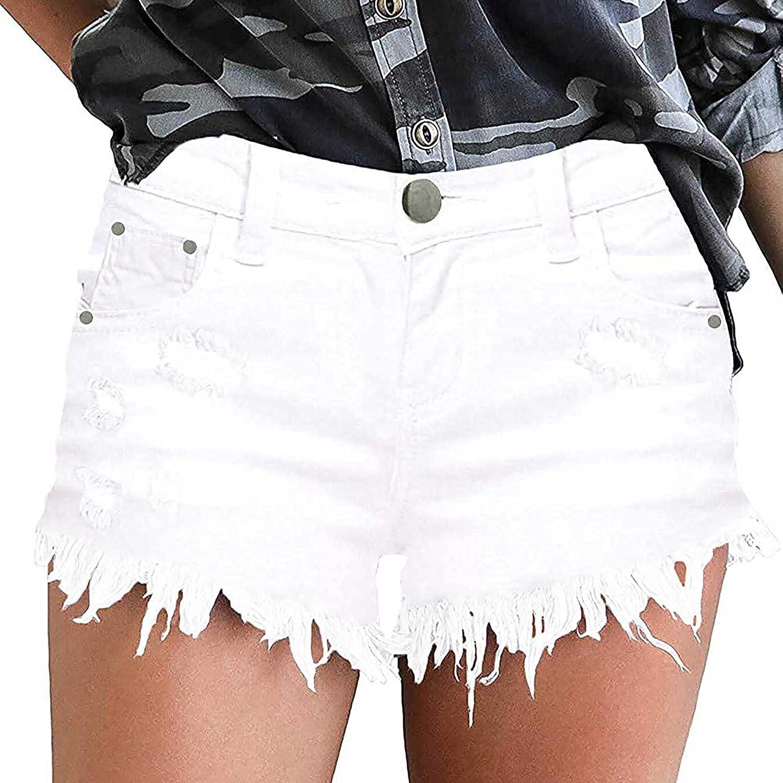 Jean Shorts Women Ripped High Waisted Casual Denim Shorts Frayed Raw Hem Ripped Jeans Shorts