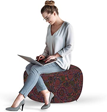Ambesonne Ethnic Ottoman Pouf, Leaves with Details South Oriental Inspired Paisley Retro Artwork, Decorative Soft Foot Rest w